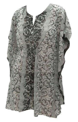 La Leela Black White ALlover Printed Beach Cover up Tunic