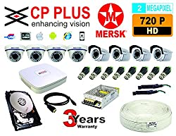 8 CH CP PLUS HD DVR + HD 2MEGAPIXEL MERSK DOME CAMERA + 4 HD 2MEGAPIXEL MERSK BULLET CAMERAS + 1 TB HARD DISK + 12 VOLT POWER SUPPLY + 10 BNC CONNECTORS (CAMERAS ARE NOT OF CP PLUS BRAND THEY ARE OF MERSK COMPANY MADE IN TAIWAN) NO INSTALLATION SERVICE