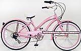 """Micargi Rover 7-speed 24"""" for Women (Pink), Beach Cruiser Bike Schwinn Nirve Firmstrong Style"""