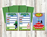 Party Supplies for Your Favorite Pixel Video Games (Two Sided Invitations)
