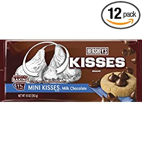 Hershey's Baking Pieces, Milk Chocolate Mini Kisses, 10-Ounce Bags (Pack of 12)