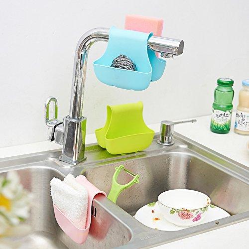 YIXIN 2-Pocket Caddy de selle pour évier de cuisine Savon éponge à récurer Organiseur pour accessoires de salle de bain Couleur, Lot de 3