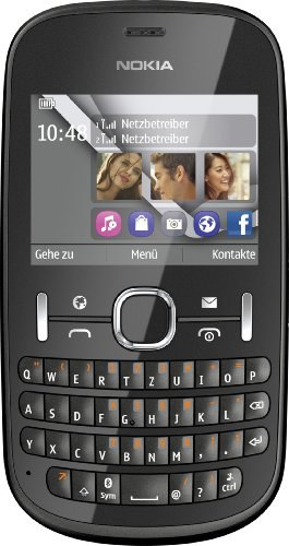 Nokia Asha 200 Handy (6,1 cm (2,4 Zoll) Display, 2 Megapixel Kamera, QWERTZ-Tastatur, Dual-SIM) graphit