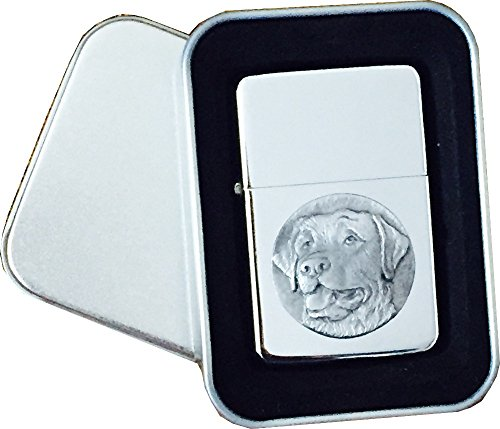 Chrome Star Lighter with Pewter Labrador Dog Emblem, Complete with Metal Gift Tin