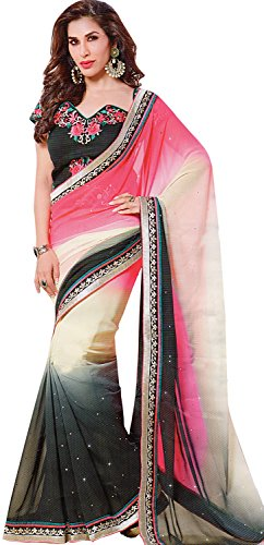 Exotic India Triple-Shaded Designer Wedding Sari with Patch Border and Em - Pink (Pink Indian Sari Adult Costume)