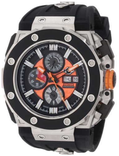 GV2 by Gevril Men's 8801 Corsaro Round Automatic-Chronograph Day-Date Sapphire Crystal Orange Dial Rubber Water-Resistant Watch