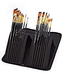 Paint Brushes 15 piece Artist Paint Brush Set for Acrylic,oil,watercolor,Gouache Painting Long Wooden Handle Paintbrushes with Holder Carry Case