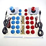 Easyget 2 Player Arcade Game DIY Parts USB Pc Joystick for Mame Game DIY (2x Zero Delay USB Encoder + 2x 5pin 8 Way Joystick + 20x Push Button) Color Red + Blue Kits Support All Windows System