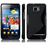 Hybrid XYLO-GEL Skin / Case / Cover for the Samsung Galaxy S2 S 2 II i9100 Mobile Phone (Solid Black S-Curve)