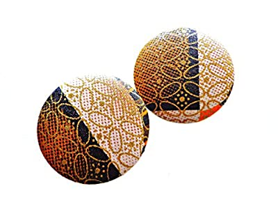 Tan Ankara Stud Earrings,African Fabric Button Earrings, Large Oversized Button Earrings, Ethnic Earrings