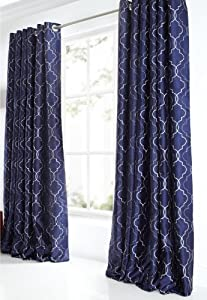STUNNING BLUE 90x90 EMBROIDERED THICK FULLY LINED RING TOP CURTAINS #NWOTDIM from PCJ Supplies