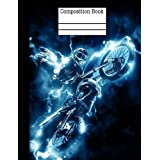 Motocross Electric Composition Notebook - Wide Ruled: 7.44 x 9.69 - 101 Sheets / 202 Pages