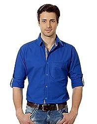 Entigue Men's Cotton Casual Shirt Blue_L