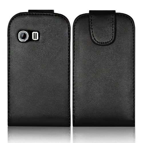 Supergets® Samsung Galaxy Y S5360 Black Top Flip Pu Leather Case