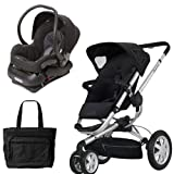 Quinny BUZ3TRVSTM1 Buzz 3 Travel System in Black with Diaper Bag