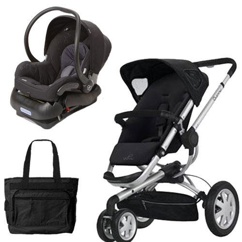 Quinny Buz3Trvstm1 Buzz 3 Travel System In Black With Diaper Bag front-1079533