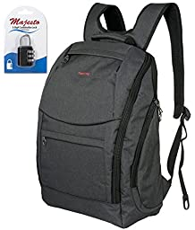 Laptop Backpack 14 Inch for Men and Women - Slim - Padded - Professional - Lightweight - Water Resistant - Ergonomic - With Bottle Holders - for Business and Travel + Padlock - Bundle - Dark Grey
