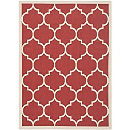 Safavieh Courtyard Collection CY6914-248 Red and Bone Indoor/ Outdoor Area Rug, 2 feet 7 inches by 5 feet (2\'7\