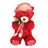 Tickles Red Cute Teddy With Rose Stuffed Soft Plush Toy Kids Birthday 36 Cm
