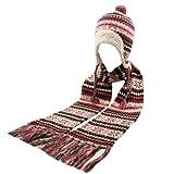 Winter Girls Kids Age 7-12 Knit Helmet Trapper Beanie Hat Scarf Ski Set Fuchsia