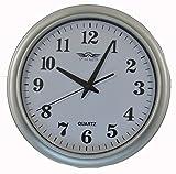Swiss Master Classic Plastic Round Wall Clock (32 cm x 32 cm x 5 cm, Silver) - 2936