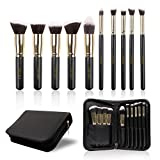 Docolor 10Pcs Makeup Brushes Set Kabuki Foundation Kits with Cases-Gloden