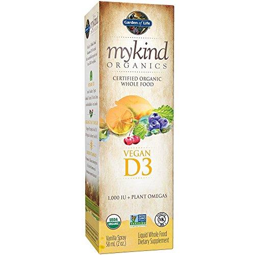 Garden of Life mykind Organic D3 Vitamin - Vegan Whole Food Supplement with Plant Omegas, Vanilla, 2oz Liquid (Liquid Organic Vitamins compare prices)