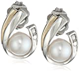 S&G Sterling Silver, 14k Yellow Gold, and Freshwater Cultured Pearl (5.0-5.5 mm) and Diamond Earrings