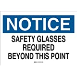 "Brady 22626 Plastic Eye Protection Sign, 7"" X 10"", Legend ""Safety Glasses Required Beyond This Point"""