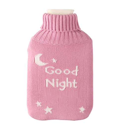 Large 2 Liter Soft Cute Hot Water Bottle Knit Cover - ONLY Cover (2 L, Pink Good Night) (Hot Water Bottle For Pain compare prices)
