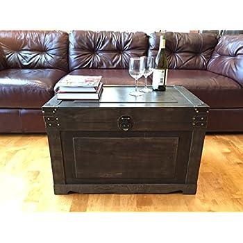 Newport Large Wood Storage Trunk Wooden Treasure Chest - Walnut