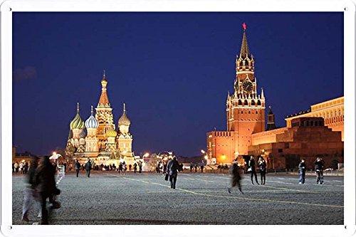 ARMVAS DÉCOR Metall plakat poster Blechschild Wandschild 20x30cm - Russland Moskauer Kreml Red Square Menschen Bewegung Abend 47.943
