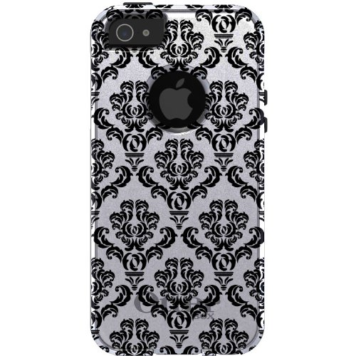 Special Sale CUSTOM OtterBox Commuter Series Case for iPhone 5 5S - Damask Pattern (White & Black)