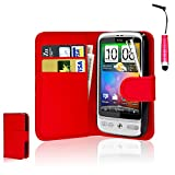 CellDeal Flip Wallet Leather Case Cover For HTC Desire C Free Screen Protector + Red
