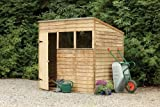 7' x 5' Wooden Garden Shed Single Door Pent Roof Low Maintenance Overlap Wood 15 Year Anti-Rot Guarantee