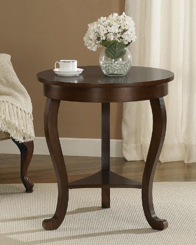 It'S A Large Indoor Rounded Accent Table That Fits Any Style In Your Living Room. A Home Decor Coffee End Table That Features With A Very Beautiful Medium Walnut Finish With Solid Wood Legs! This Is A Great End Table To Place Your Lamp Or Coffee Cup!