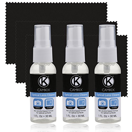 Camkix Lens and Screen Cleaning Kit - 3x cleaning spray, 3x microfiber cloth - Perfect to clean the lens of your DSLR or GoPro camera - Also great for your smartphone, tablet, notebook, etc. (Gopro Lens Cleaner compare prices)