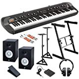 Korg SV-1BK 73 Stage Piano STUDIO BUNDLE w/ Monitors, Stands & Cables