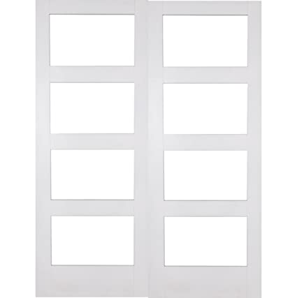 "Green Tree Doors White Shaker 4 Light Clear Internal Door Pair (533mm (21""))"