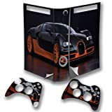 Cars 10121, Black Car, Wrap Around Skin Sticker Decal Vinyl Wrap Cover Protector with Leather Effect Laminate and Colorful Design for Xbox 360 Fat Game Console and 2 Controllers.