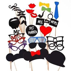 31pcs moustache lèvre lunettes loup masque avec bâton pour Masquerade