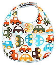 My Blankee Baby Boy Bib, White cars