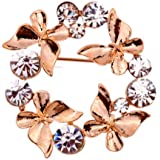 Yazilind Jewellery Rose Gold Plated Glaring Crystal Pretty Butterfly Brooches and Pins Vintage