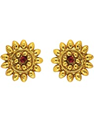 Traditional Ethnic Red Sun Flower Gold Plated Dangler Earrings With Crystals For Women By Donna ER30126G