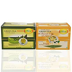 GTEE Green Tea Bags - Regular & Green Tea Bags-Chamomile (25 Tea bags X 2PACKS)