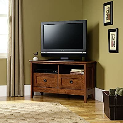 TV Stand For Flat Screens Entertainment Center Sauder Furniture Wood Corner Home 39 Inch Oak Modern With Drawers