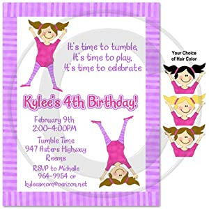 Gymnastics Birthday Party Invitations - Set of 20