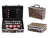 Cameo Cosmetics Premium 51pc Beauty Case Make Up Set With Reusable Aluminum Leopard Case Eyeshadows, Lipsticks, Blushers, Lip Glosses, Brushes, Mirror Box, Applicators, Pencils
