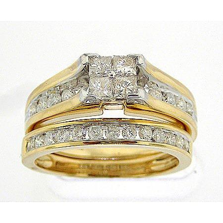 DIAMOND WEDDING-SET 1.00CTW DIAMOND LADIES BRIDAL SET WITH 4STONE HEAD PRINCESS PCL4403-SIZE6 Size O
