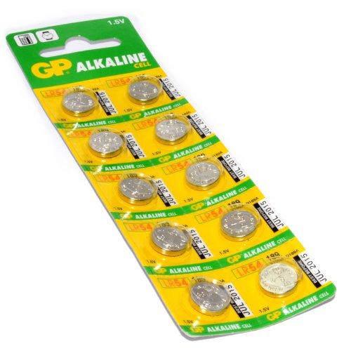 GP Alkaline Cell Battery LR54 189 V10GA D189A 1.5V Pack Of 10
